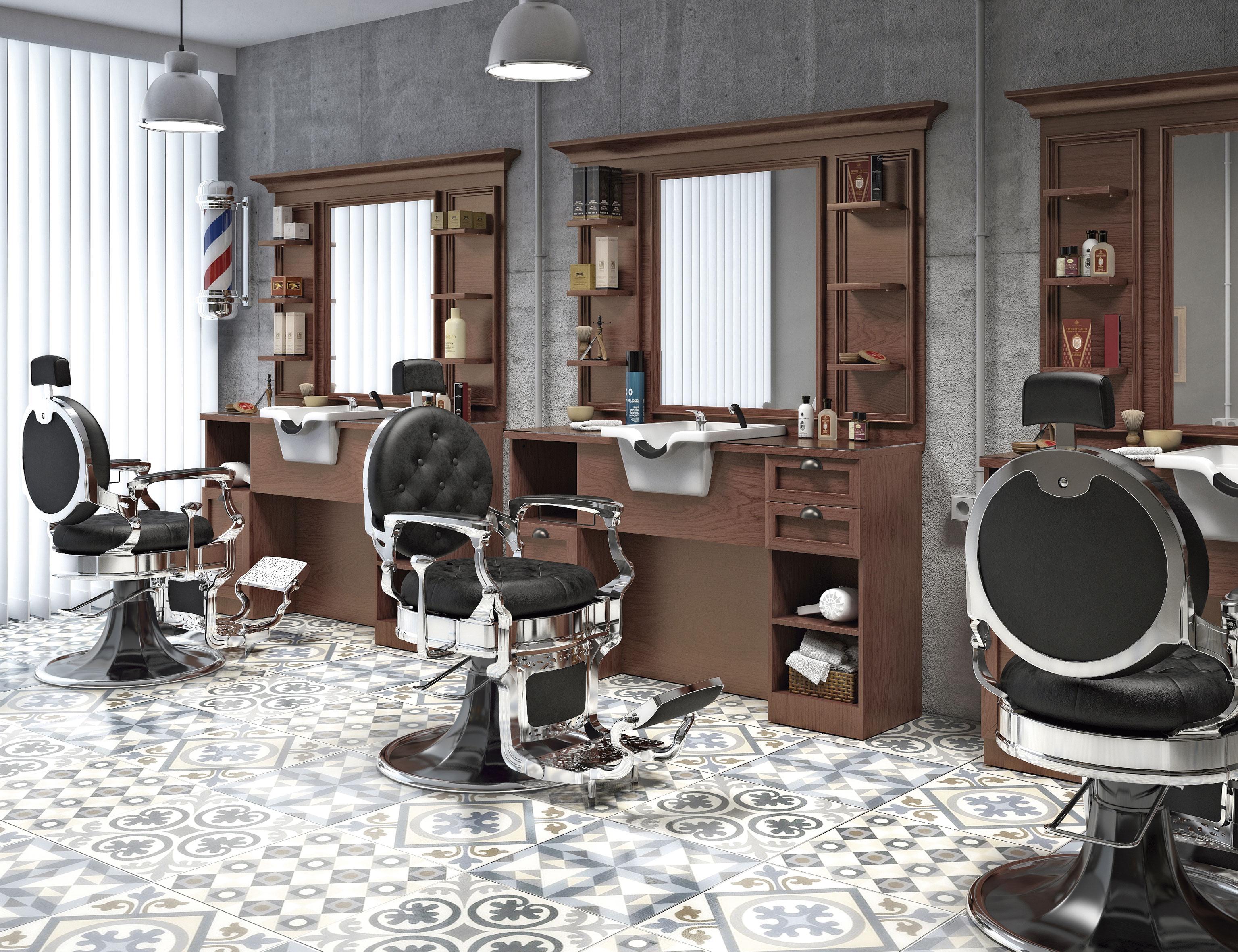 photo ambiance salon barbier Retro Barber